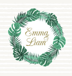 exotic tropical leaves wreath wedding invitation vector image