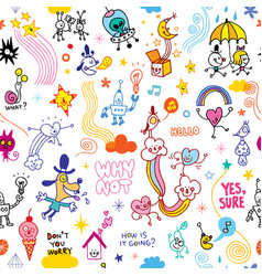Fun cartoon comic characters seamless pattern vector