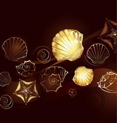 gold seashells vector image