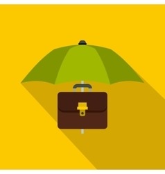 Green umbrella and business case icon flat style vector