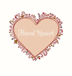 Hand drawn doodle heart text frame vector image