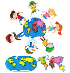 Happy children and different styles of worldmap vector