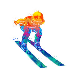 jumping skier sport vector image vector image