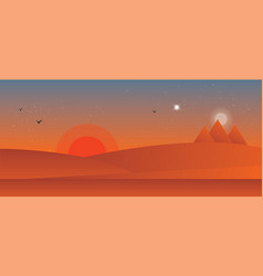 Landscape of the desert sunset vector