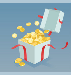 money coins coming out of the gift box vector image