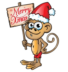 monkey xmas vector image