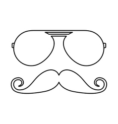 Mustache and glasses hipster style vector
