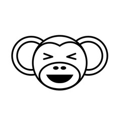outline monkey head animal vector image vector image