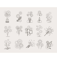Pyrotechnic line icons vector