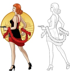 Retro girl caucasian race in black with a gun vector