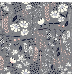 Seamless pattern design with hand drawn flowers vector image vector image