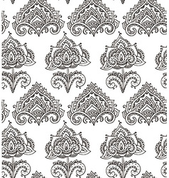 Seamless pattern with hand drawn henna floral vector