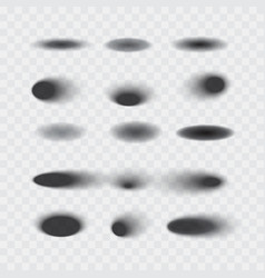 set of oval shadows isolated vector image