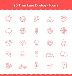 Set of Thin Line Stroke Ecology Icons vector image