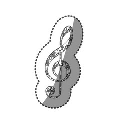 Sticker treble clef in monchrome silhouette formed vector