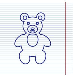 Teddy bear sign navy line vector