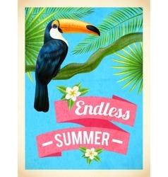 Toucan bird summer vacation flat poster vector