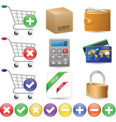 web shop icon set vector image vector image