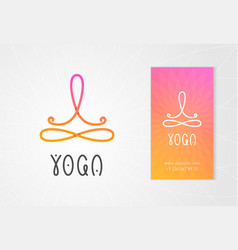 yoga logo with man in lotus pose vector image