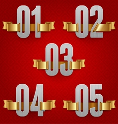 Numbers with golden ribbons vector