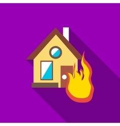 Protect home from fire icon flat style vector image