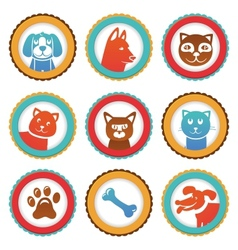 collection with funny cats and dogs vector image