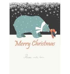 Little angel and polar bear celebrating Christmas vector image