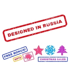 Designed in russia rubber stamp vector