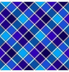 Blue diagonal check plaid seamless pattern vector image