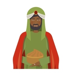 Half body brunnette wise man with offering vector