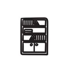 Bookcase sketch icon vector