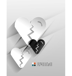 Broken heart paper 3d design vector