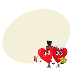 Two hearts bride and groom holding hands making vector