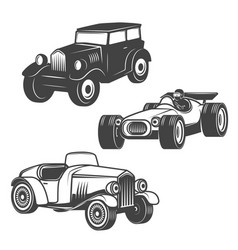 Set of retro cars icons isolated on white vector