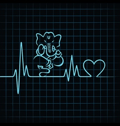 Heartbeat make a lord ganesha and heart symbol vector