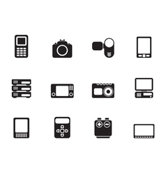 Silhouette media and electronics icons vector