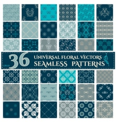 Set of Seamless Backgrounds with Vintage Floral vector image