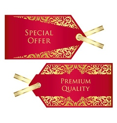 Luxury red and golden price tag with vintage vector