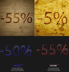 5 50 55 icon set of percent discount on abstract vector