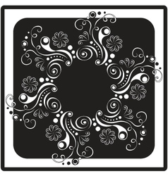 black and white floral card vector image