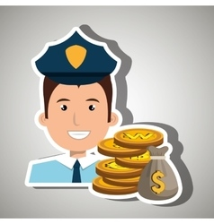 Police with bag coins isolated icon design vector