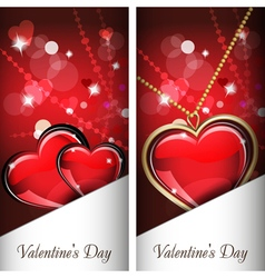 St valentines day two cards with glass red and vector