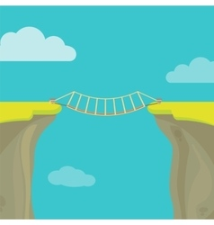 Abyss gap or cliff concept with bridge sky and vector