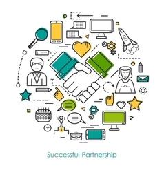 Successful partnership line concept vector