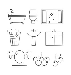 Bathroom furniture and lighting hand drawn line vector