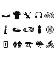 black bicycle icons set vector image vector image