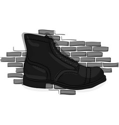 Black lace-up shoes against a light gray brick vector
