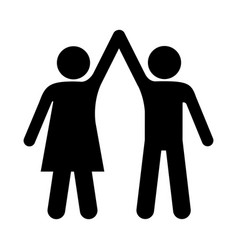 Black silhouette pictogram man and woman taken of vector