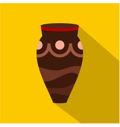 Brown ceramic vase icon flat style vector
