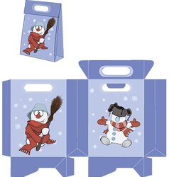 Christmas Snowball Handbags packages pattern vector image vector image